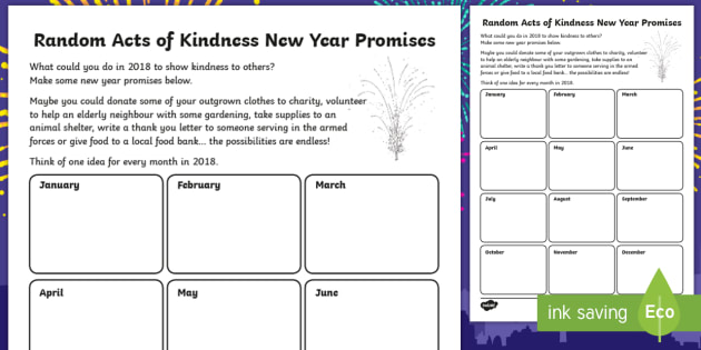 Ks2 Random Acts Of Kindness New Year Promises Writing Worksheet