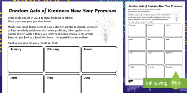 Ks2 Random Acts Of Kindness New Year Promises Writing Worksheet
