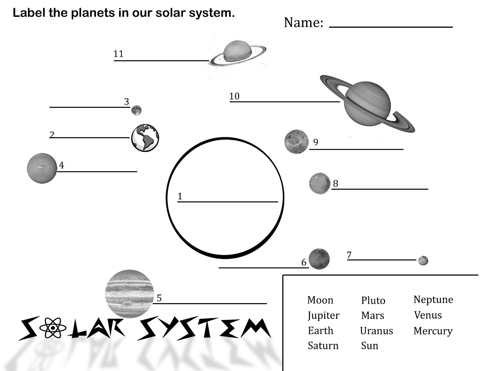 Label Solar System Diagram Printout