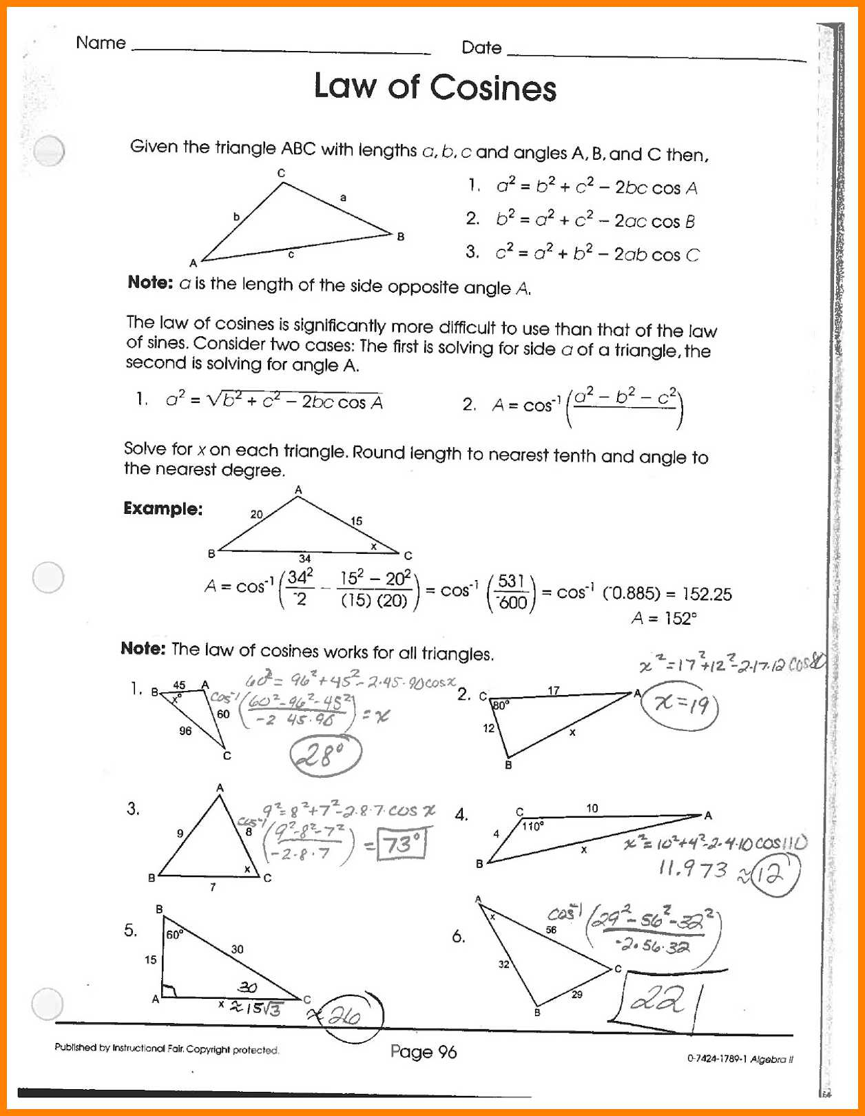 Law Of Cosines And Sines Worksheet  1301411
