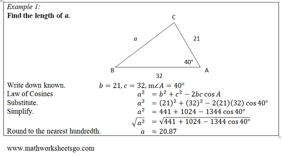 Law Of Cosines Worksheet  Free Pdf With Answer Key, Visual Aides