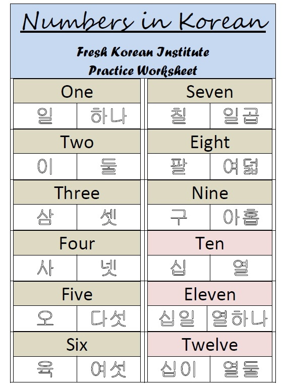 Learn To Write Korean Worksheets