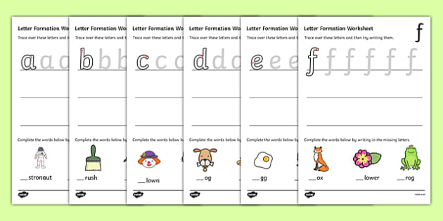 Letter Formation Worksheets (a