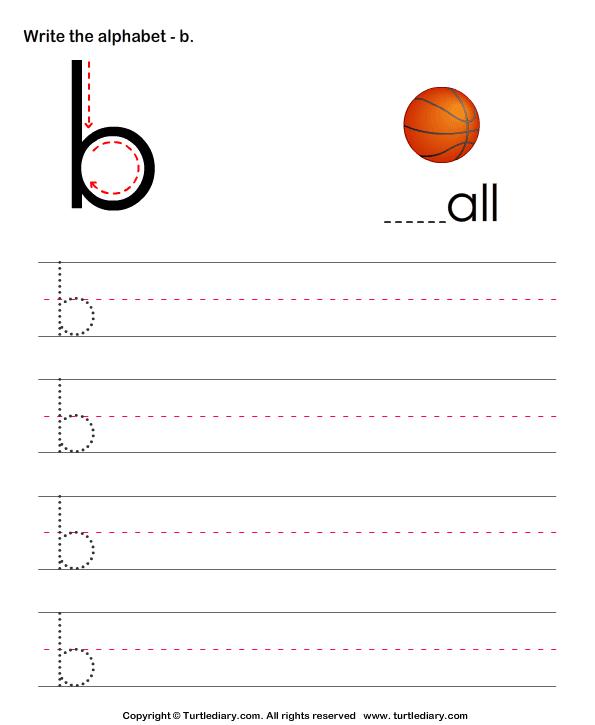 Lowercase Alphabet Writing Practice B Worksheet