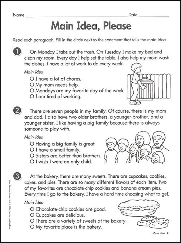 Main Ideas And Supporting Details Worksheets