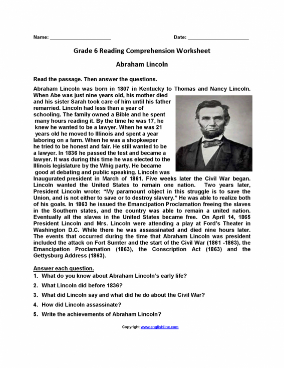 Math  Free Grade 6 Reading Comprehension Worksheets  Reading