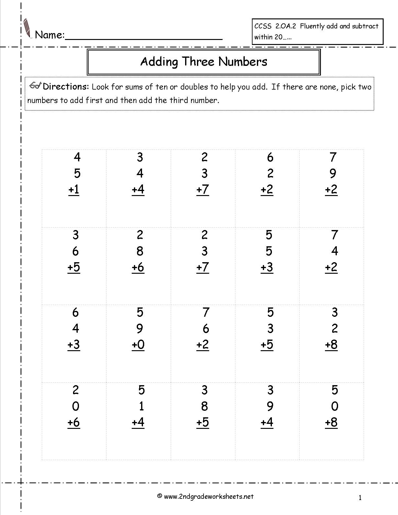 Math Addition Worksheets 2nd Grade Printable  178313