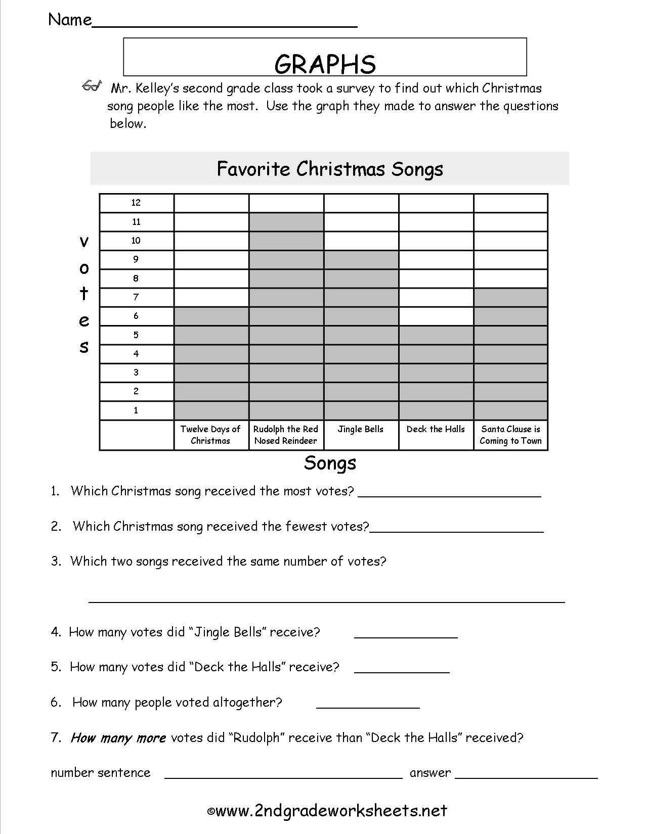 Math Christmas Graphing Worksheets  809973