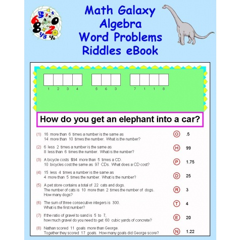 Math Galaxy Algebra Word Problems Riddles Ebook
