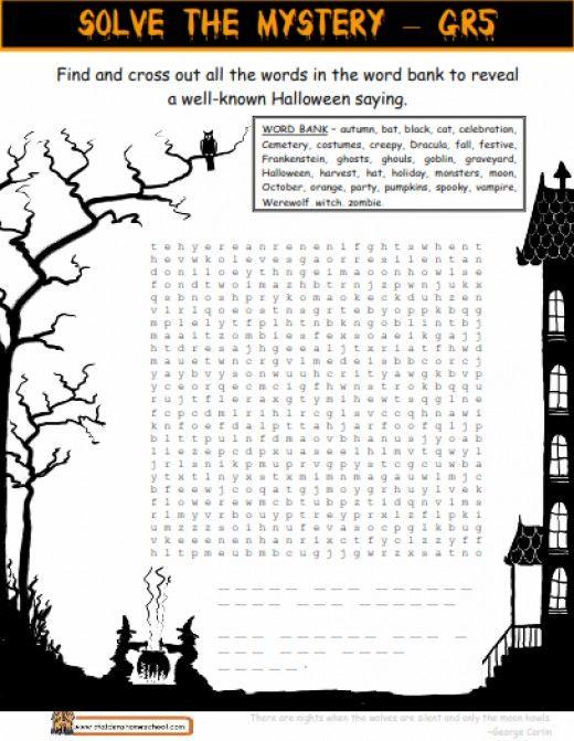 Halloween Grammar Worksheets Middle School