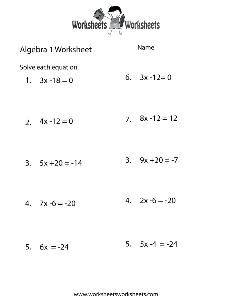 Math Practice Worksheets Algebra 1  256430