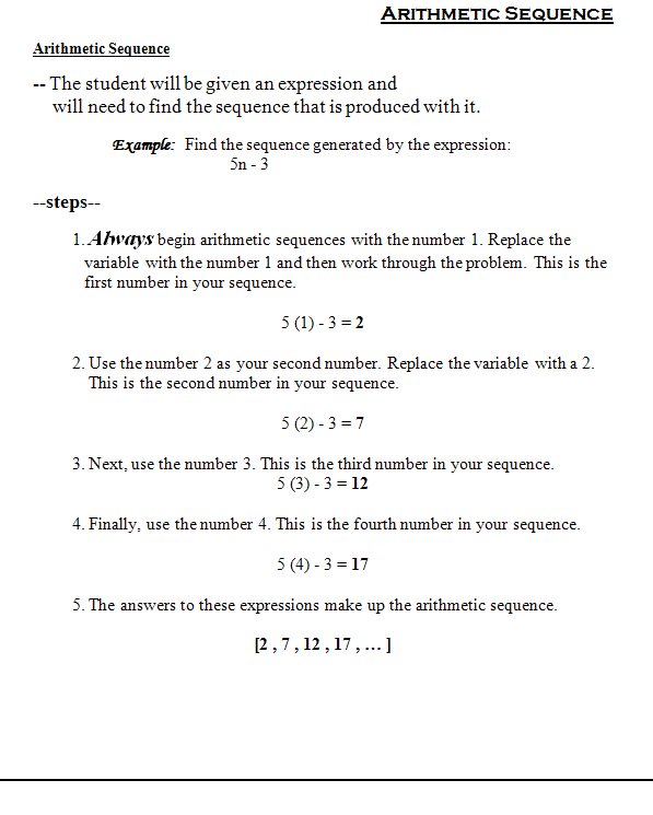 Math Sequence Worksheets Pdf  939630