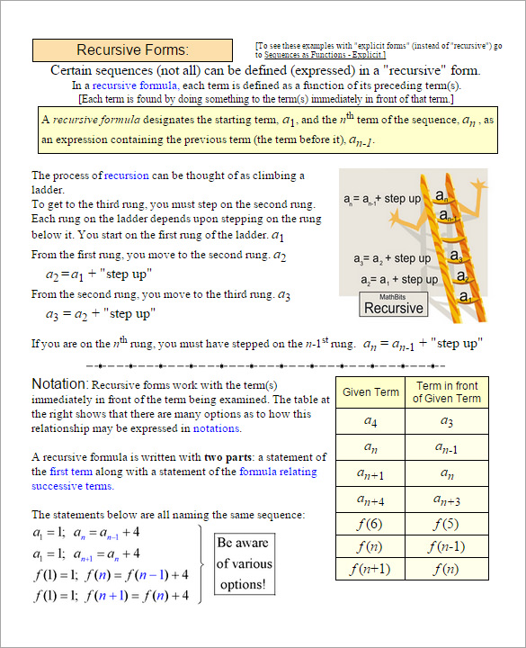 Math Sequence Worksheets Pdf  939647
