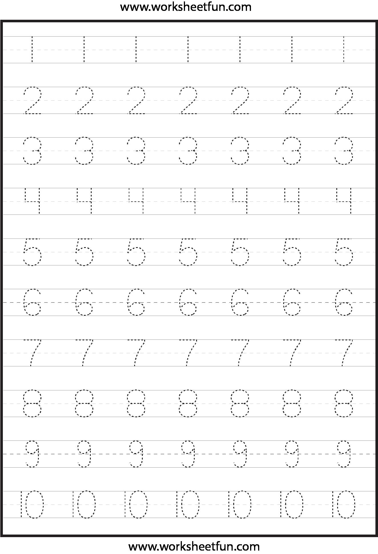 Math Tracing Worksheets For Kindergarten  410000