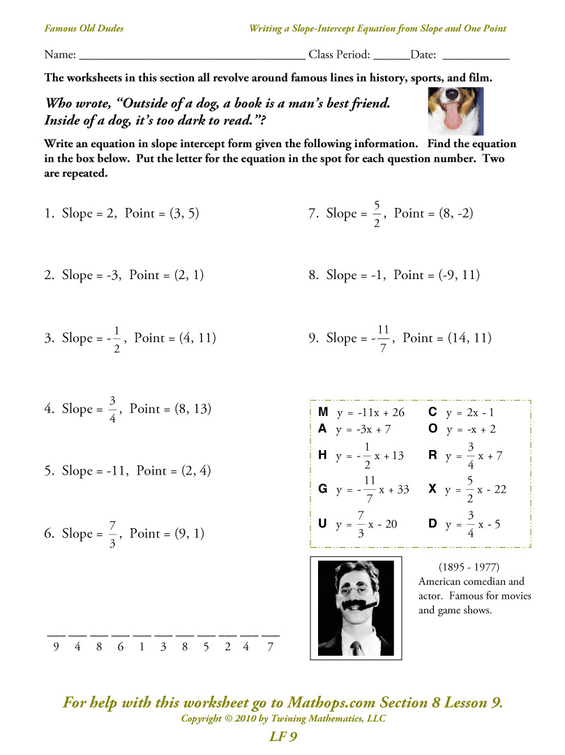Math Worksheet Slope Intercept Form 335727