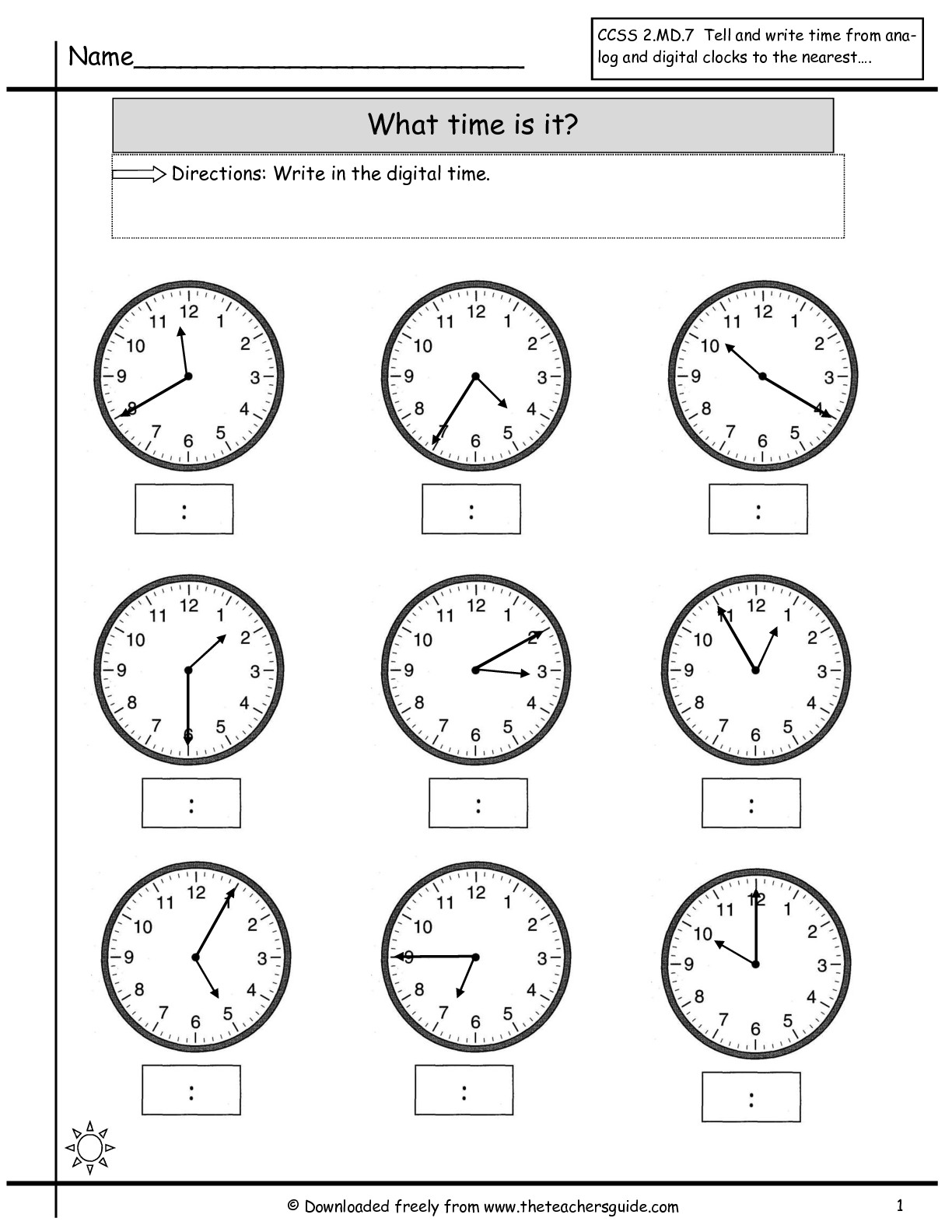 Math Worksheet Time To The Nearest Minute  1212652