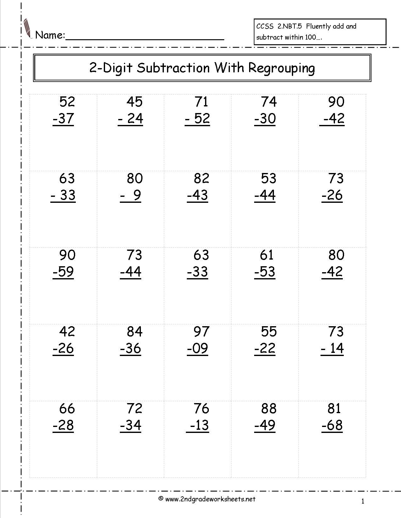 Math Worksheets 2nd Grade Subtraction 1069554