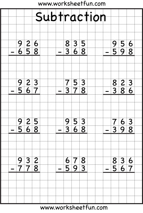 Math Worksheets 3 Digit Addition And Subtraction With Regrouping