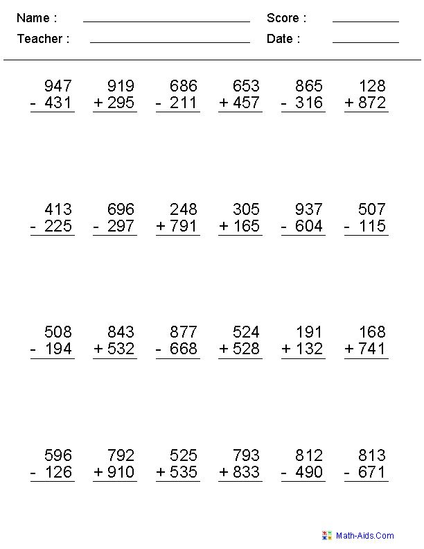 Math Worksheets 3rd Grade Addition And Subtraction 1448615