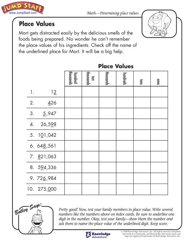 Math Worksheets 3rd Grade Place Value 1321941