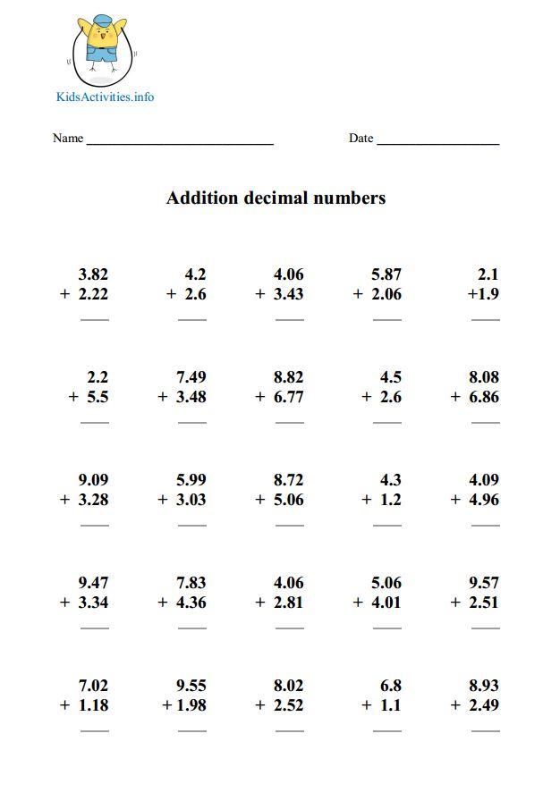 Math Worksheets 5th Grade Decimals  196509