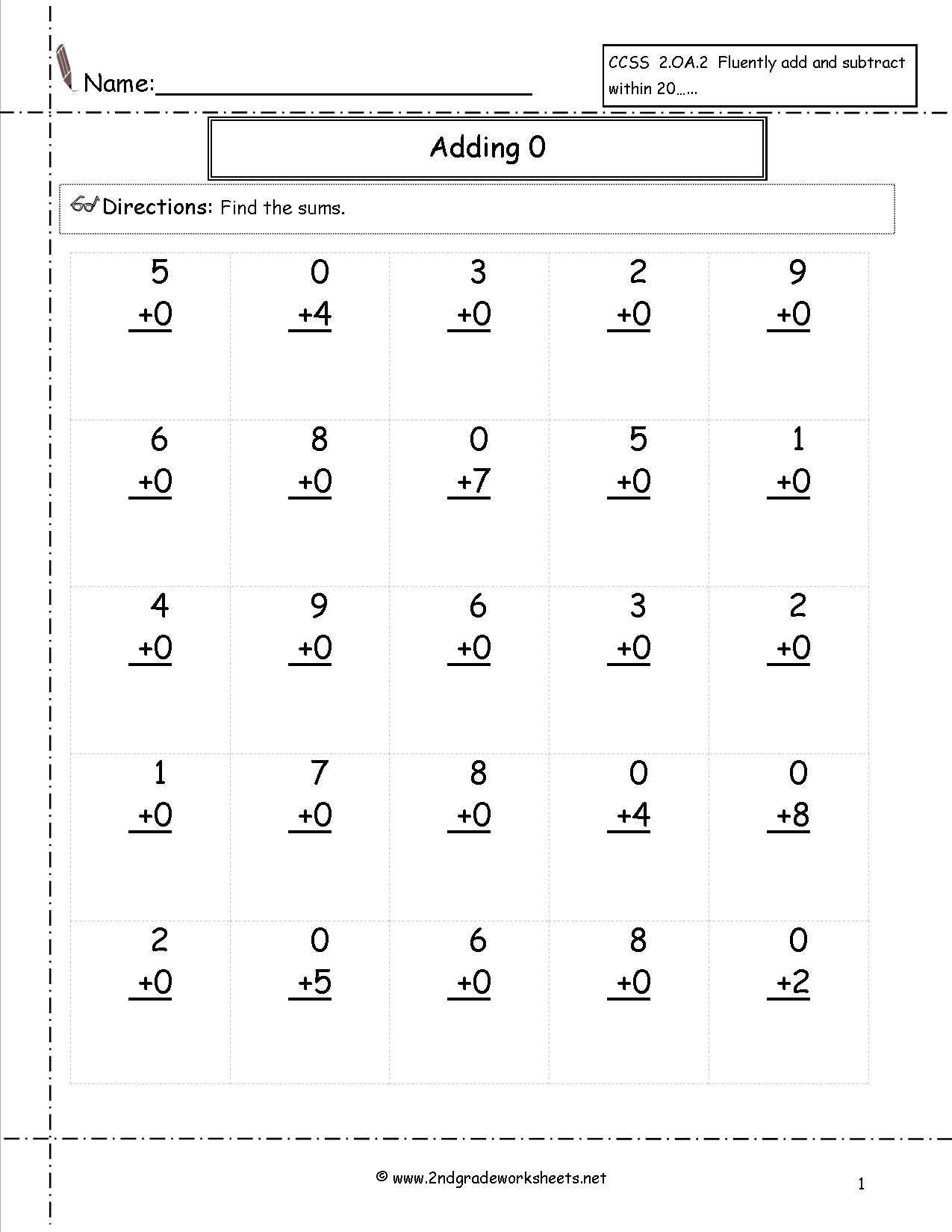 Math Worksheets Addition With Zero  776901