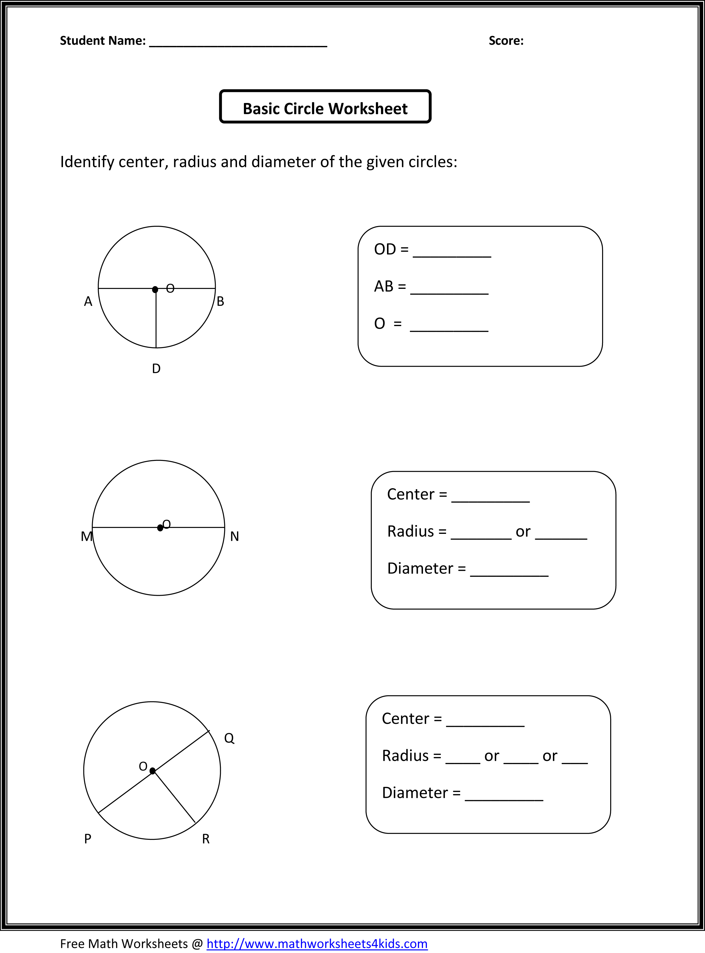 Math Worksheets Circles  1298518