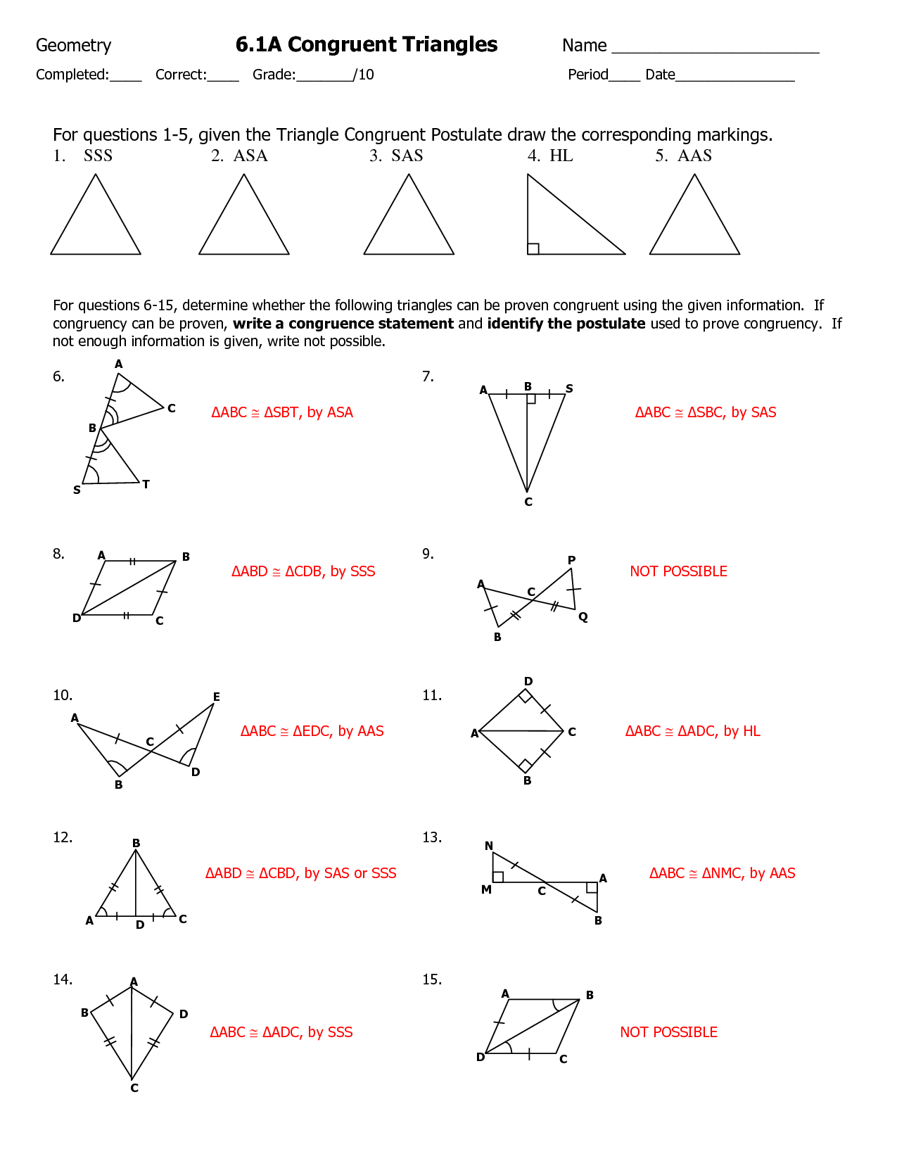 Math Worksheets Congruent Triangle Proofs 365221
