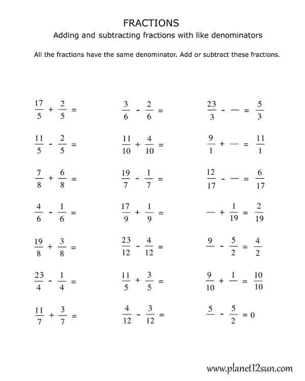Math Worksheets For Adding Subtracting Multiplying And Dividing