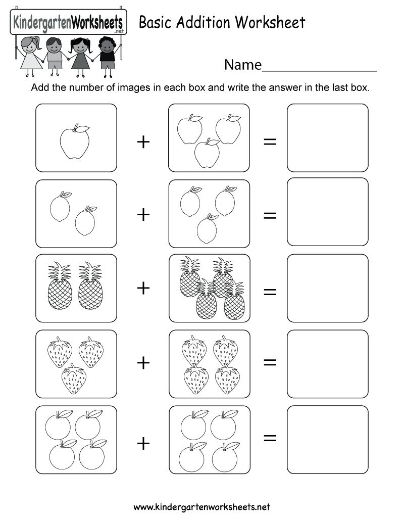 Math Worksheets For Basic Addition  284839