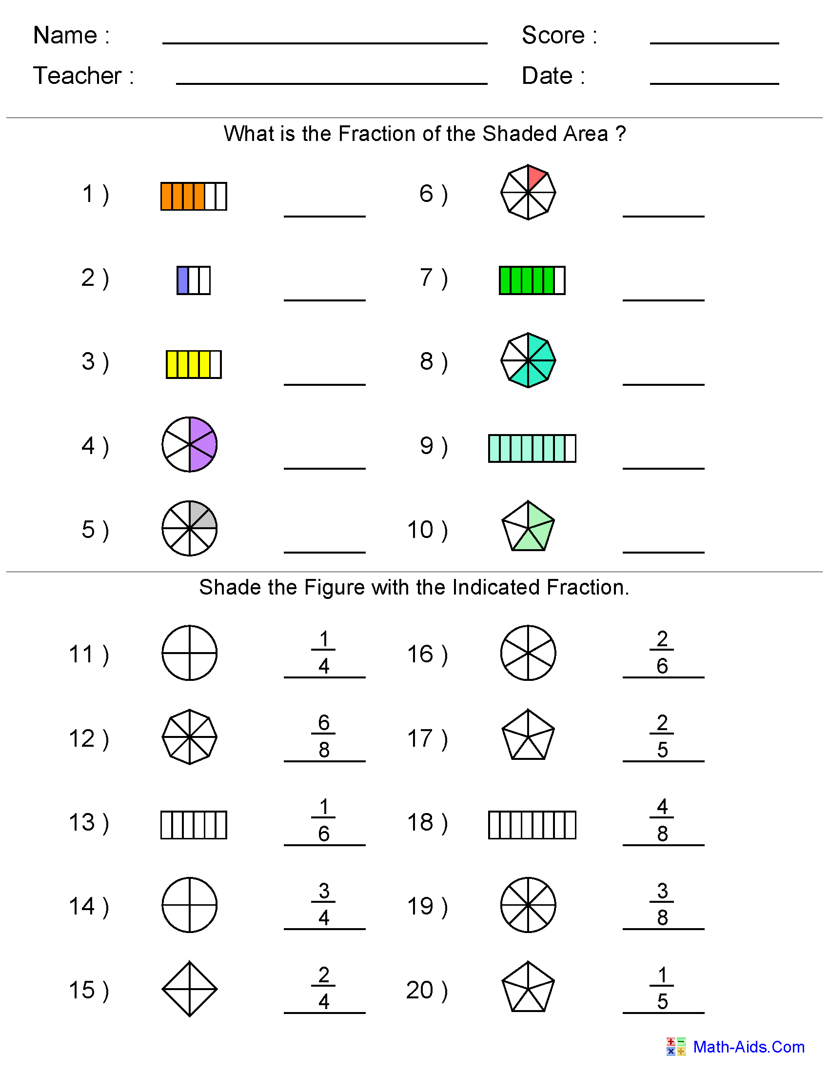 Math Worksheets For Grade 2 Fractions  770809
