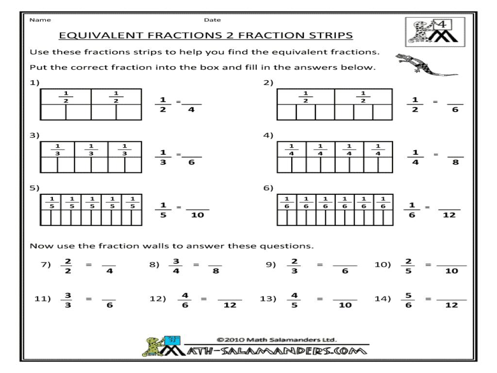 Math Worksheets Fraction Equivalents  314744