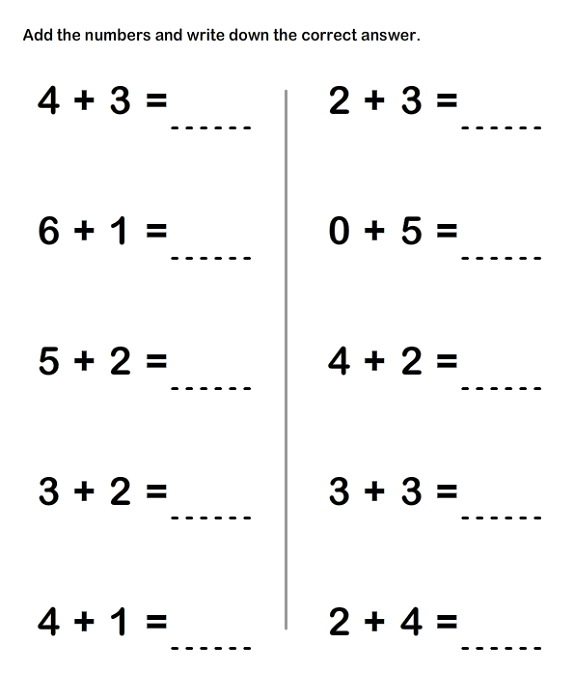 Math Worksheets Grade 1