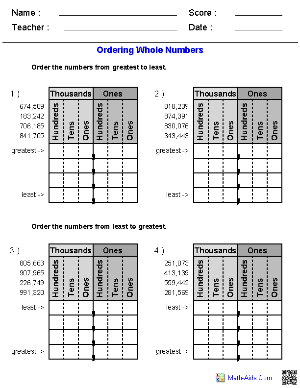 Math Worksheets Ordering Numbers To 1000  1446836