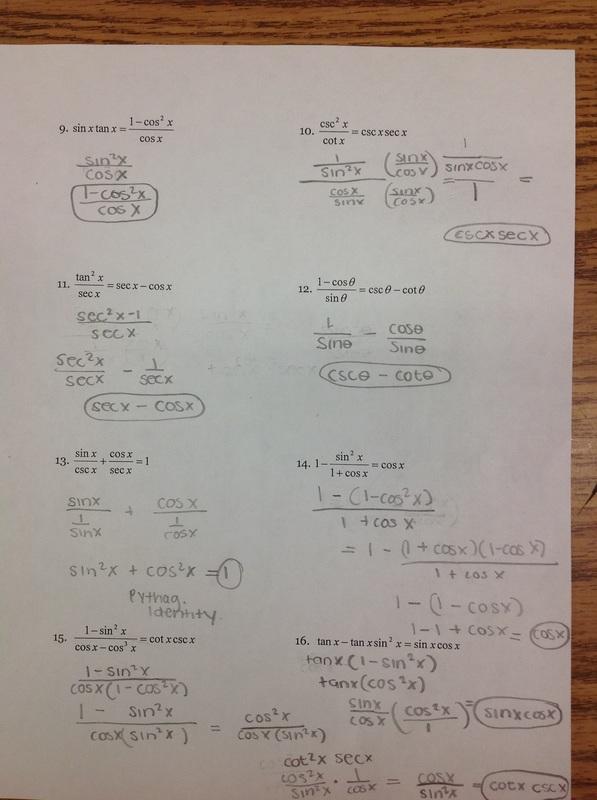 Math Worksheets Trig Identities  415325