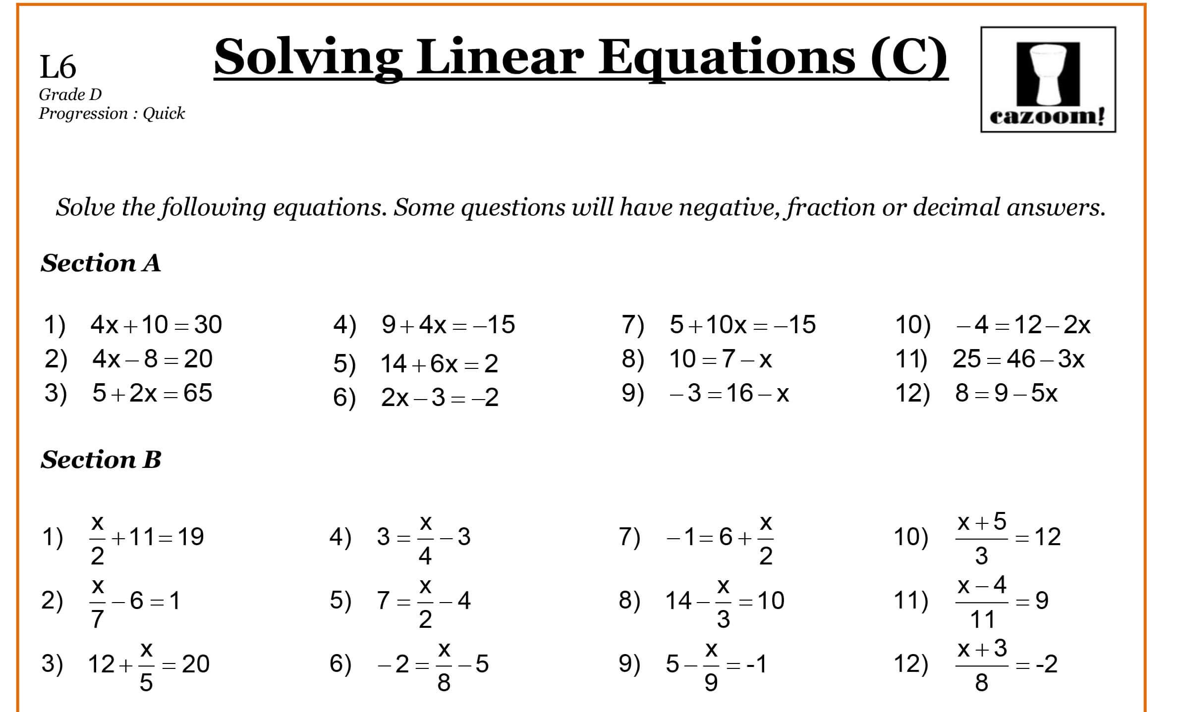 Math Worksheets Year 9  431974