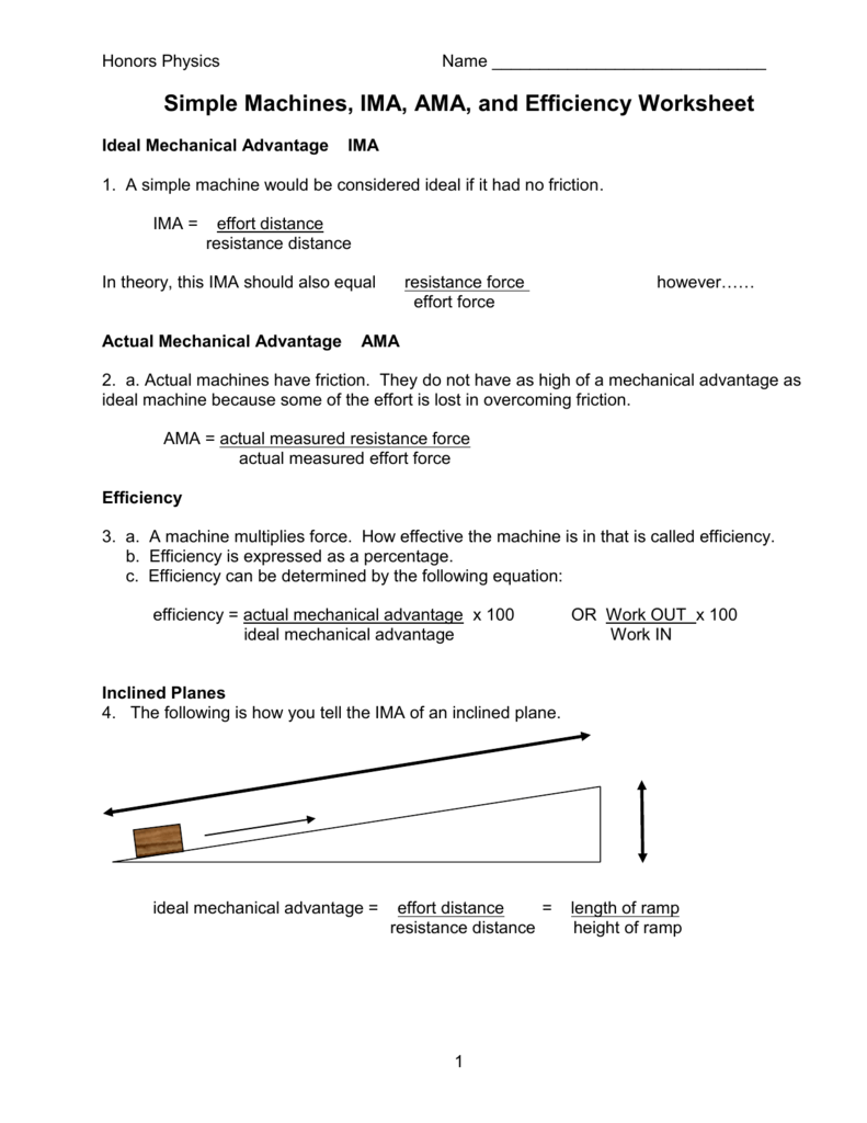 Mechanical Advantage Of A Pulley Worksheet