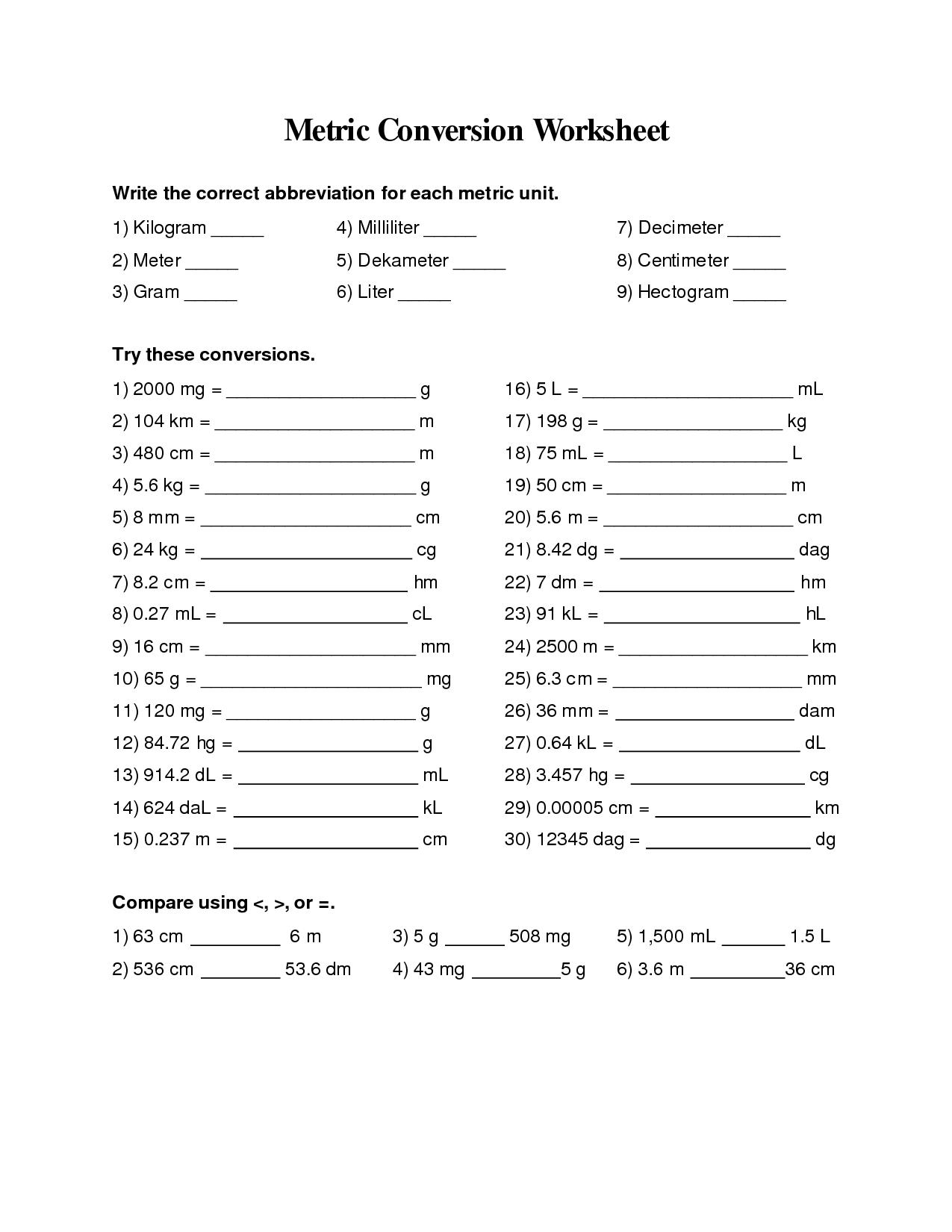 Metric Conversion Worksheets 6th Grade Metric Conversion Worksheet