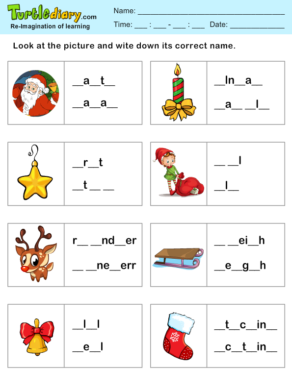 Missing Letters Christmas Spelling Sheet Worksheet