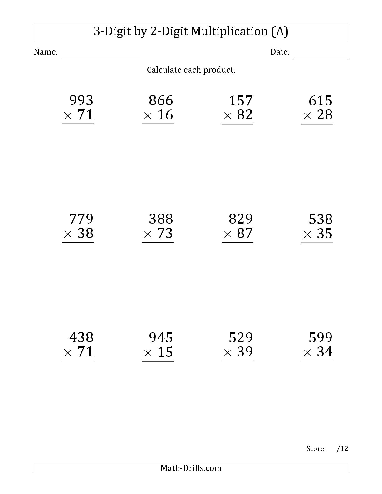 Mixed 2 And 3 Digit Multiplication Worksheets 303659