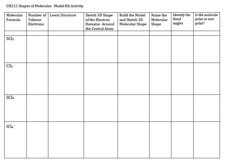 Molecular Shapes Worksheet 767794