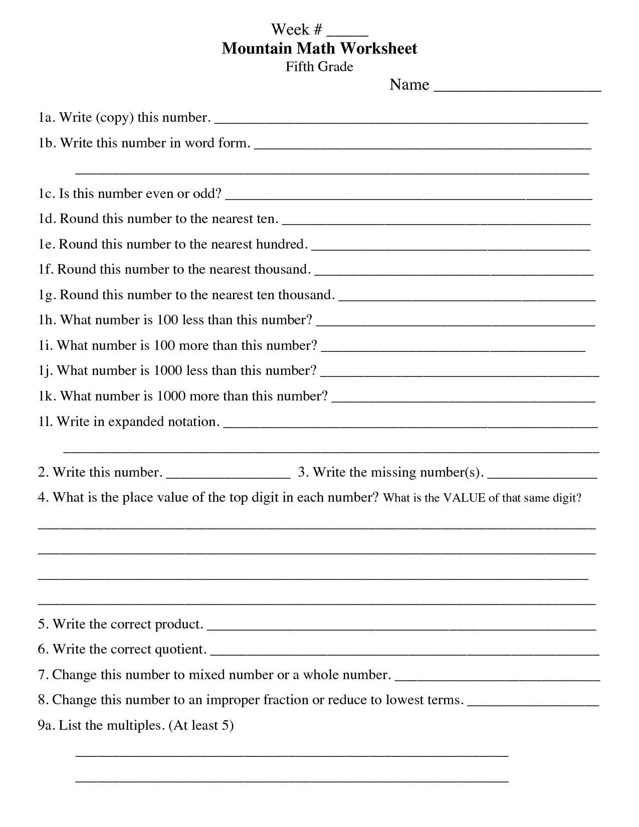 Mountain Math 4th Grade Worksheet