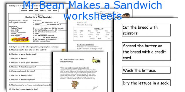 Mr Bean Makes A Sandwich Worksheets