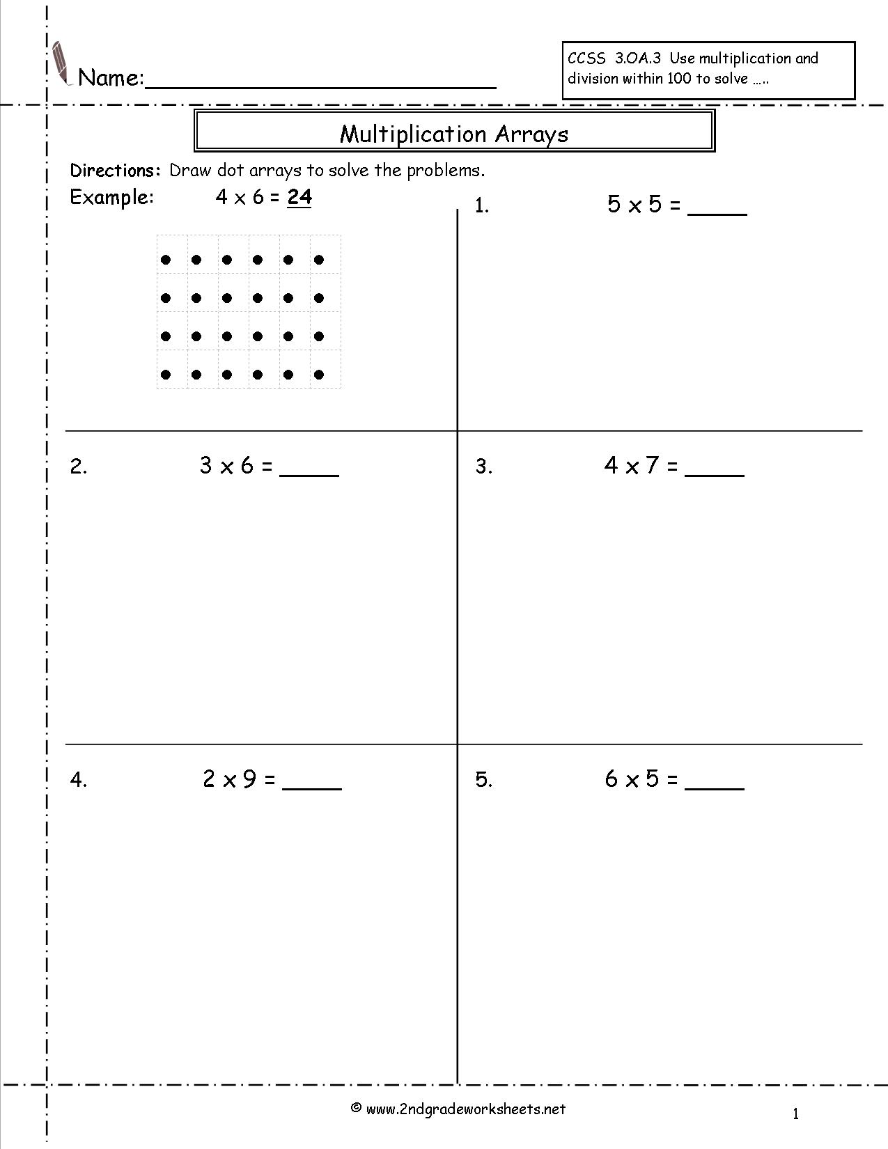 Multiplication Arrays Worksheets 4th Grade  356051