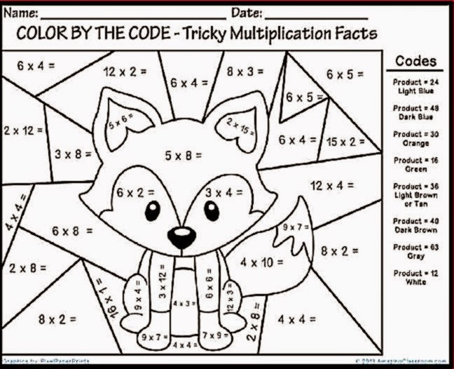 Multiplication Coloring Worksheets Grade 4 909395