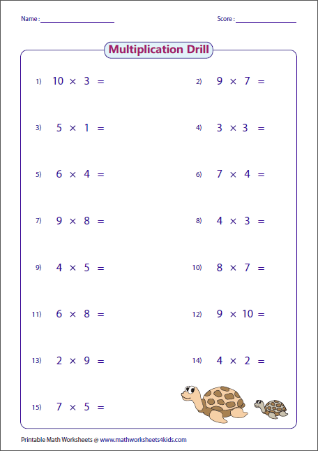 Multiplication Drill Worksheets