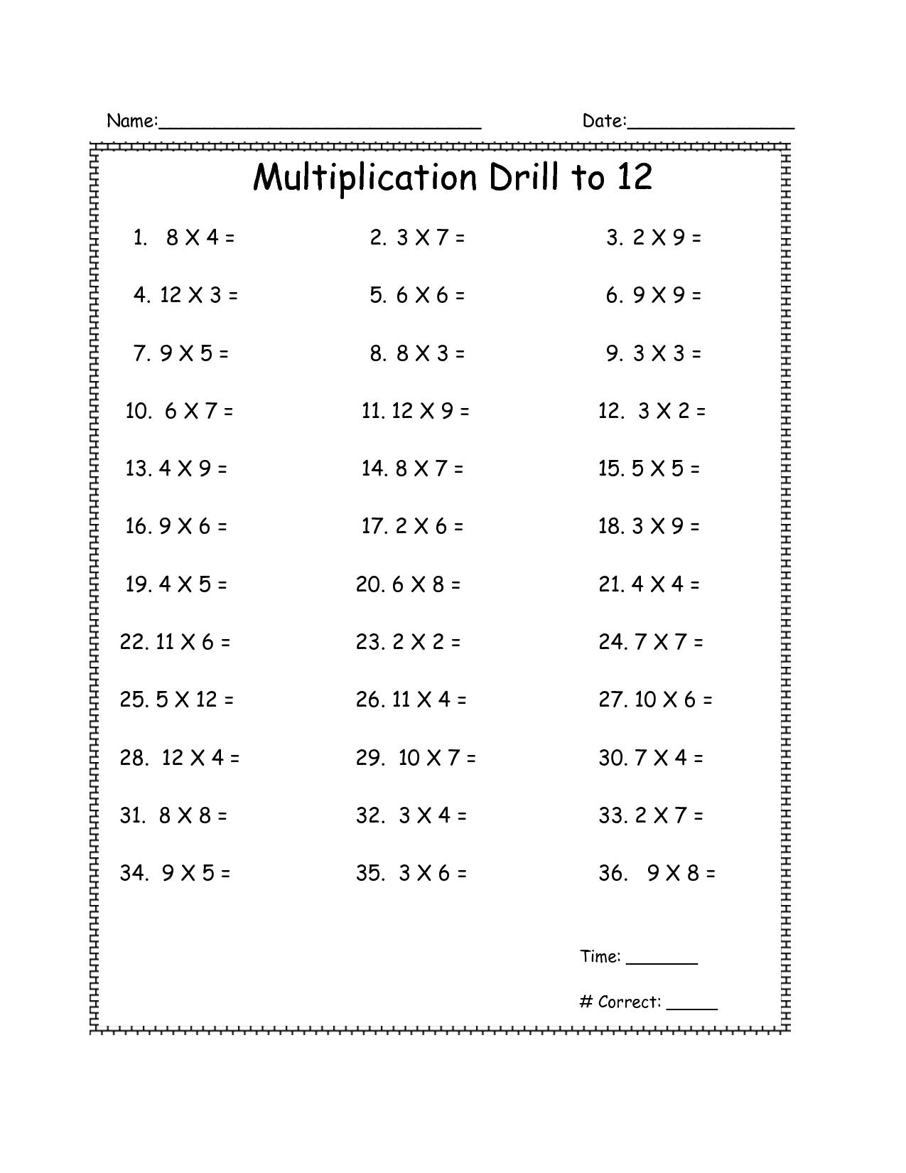Multiplication Drill Worksheets Grade 4