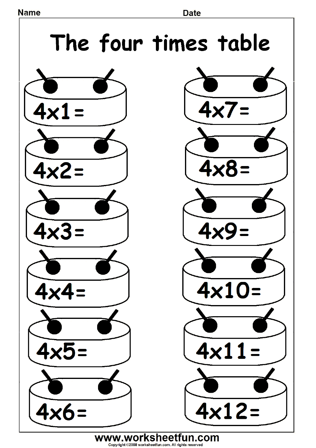 Multiplication Times Tables Worksheets 2, 3, 4, 6, 7, 8, 4 Times