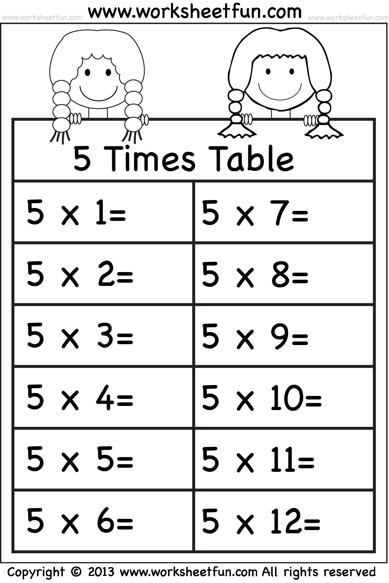 Multiplication Worksheets 5 Times Tables  1419816
