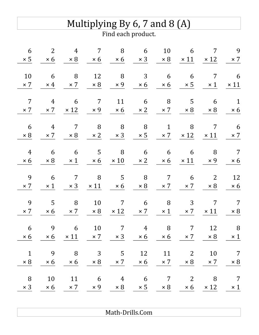 Multiplication Worksheets 6 7 And 8  26159
